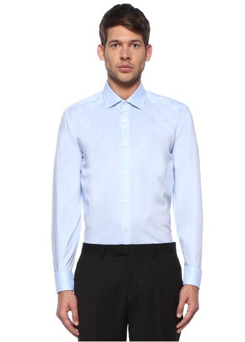 Comfort Fit Mavi Non Iron Özellikli Oxford Gömlek