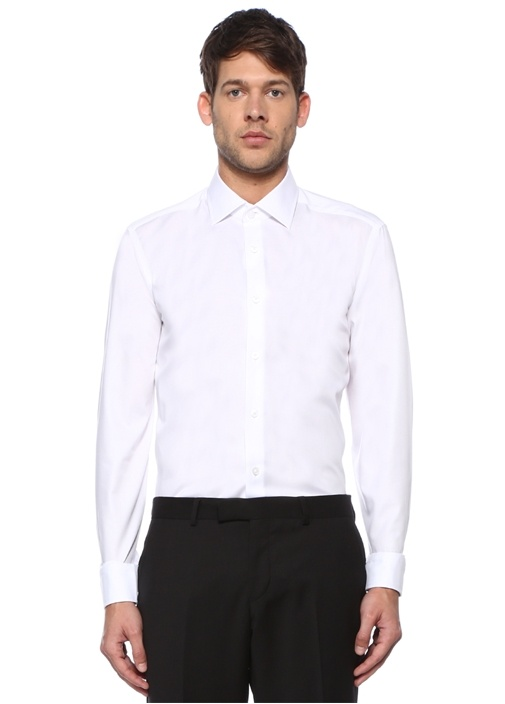 Comfort Fit Beyaz Non-iron Özellikli Twill Gömlek