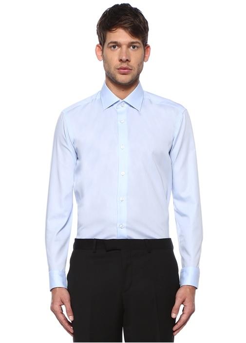 Comfort Fit Mavi Non-iron Özellikli Twill Gömlek
