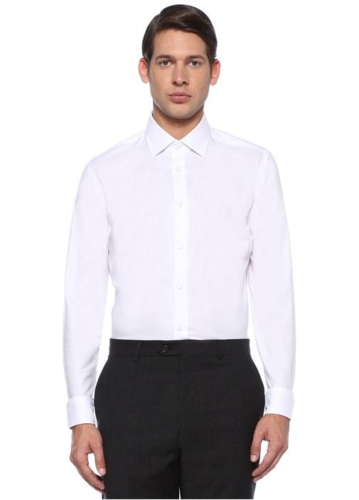 Slim Fit Beyaz Noniron Özellikli Klasik Gömlek