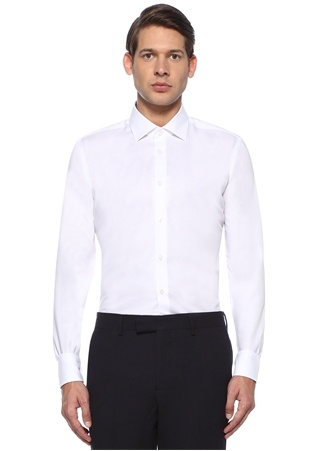 Non İron Slim Fit Beyaz İngiliz Yaka Gömlek