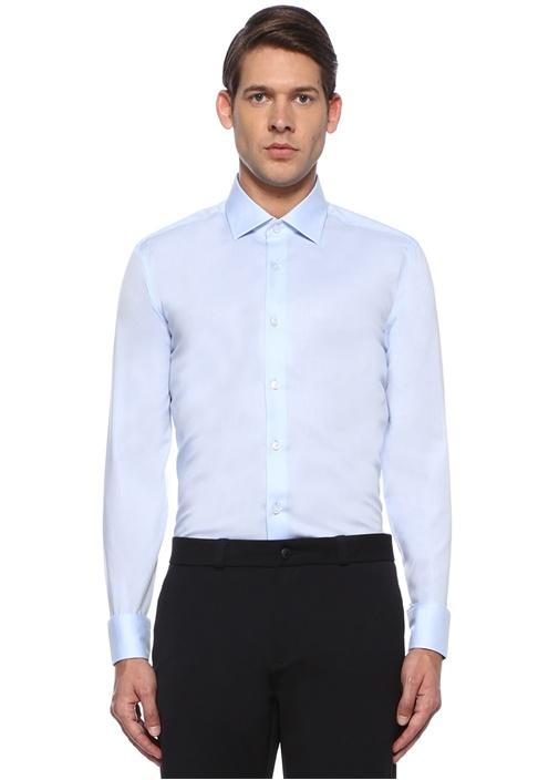 Non İron Slim Fit Mavi İngiliz Yaka Gömlek