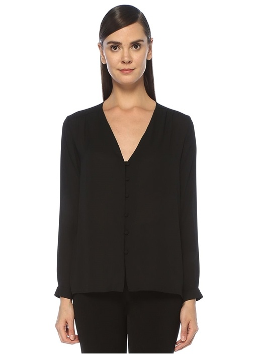 Siyah V Yaka Önü Düğmeli Şifon Gömlek