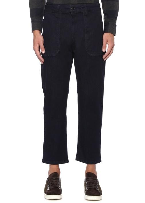 Slim Fit Yüksek Bel Cep Detaylı Crop Jean Pantolon