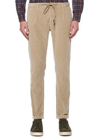Bej Beli Kordonlu Kadife Spor Pantolon