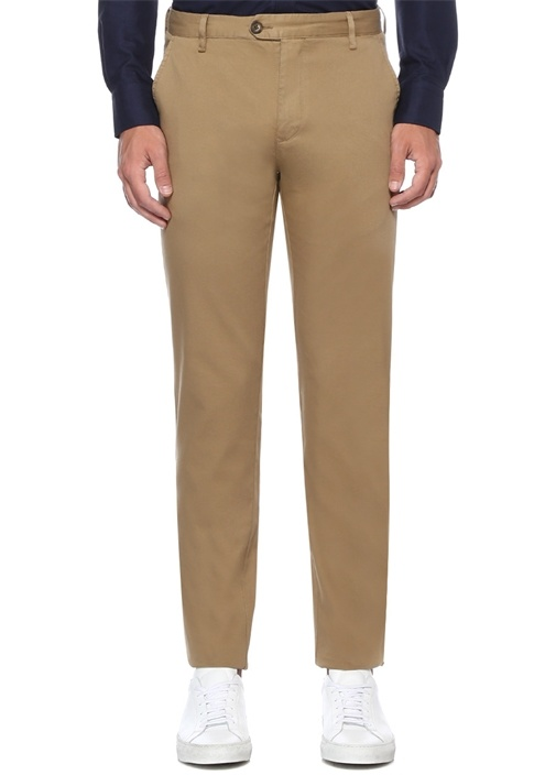 Regular Fit Bej Panama Dokulu Chino Pantolon