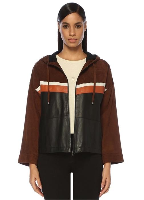 Kahverengi Renk Bloklu Kapüşonlu Süet Deri Ceket