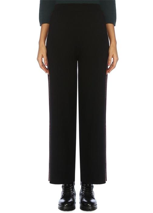 Siyah Yanı Şeritli Bol Paça Triko Pantolon