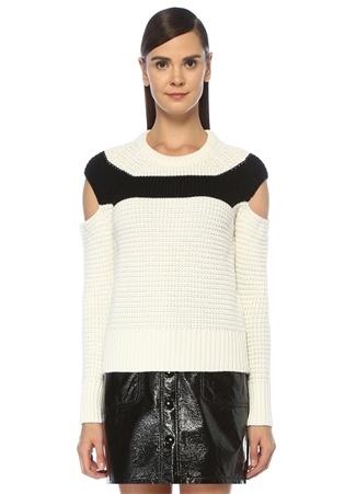 Beymen Club Kadın Beyaz Omzu Açık Siyah Bantlı Dokulu YünKazak Bej XL