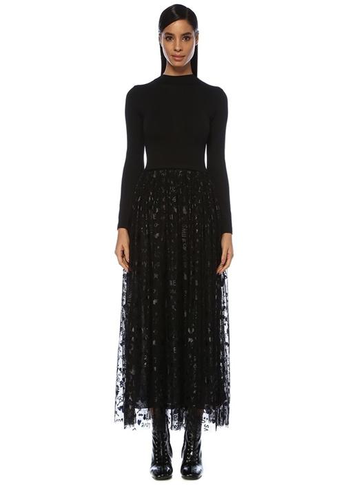 Siyah Tül Etek Garnili Maksi Triko Elbise
