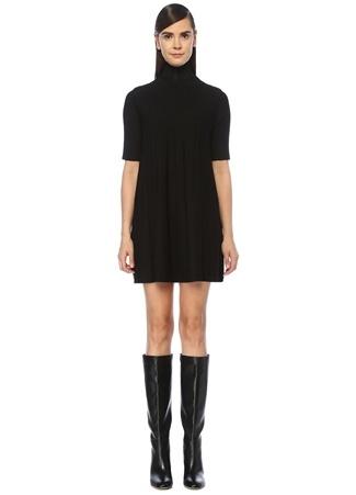 Siyah Balıkçı Yaka Kısa Kol Mini Triko Elbise