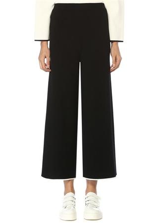 Beymen Club Kadın Siyah Paçaları Kontrast Şeritli Triko Pantolon XS