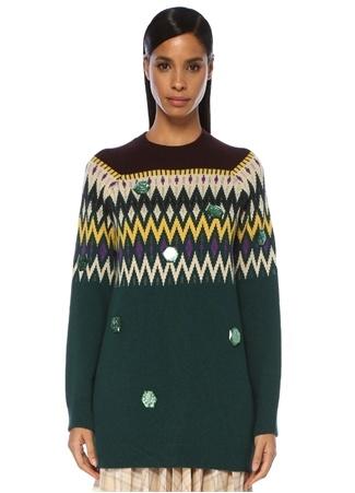 Beymen Club Kadın Yeşil Geometrik Desenli Taşlı Tunik BoyKazak M