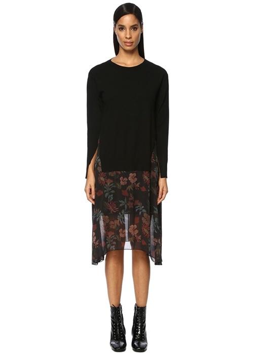 Siyah Çiçekli Şifon Garnili Midi Triko Elbise