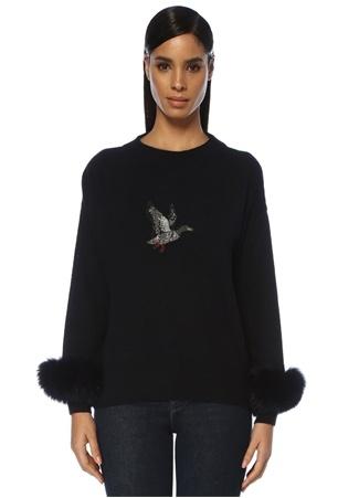 Beymen Club Kadın Lacivert Kuş İşlemeli Kol Detaylı Yün Kazak XS female