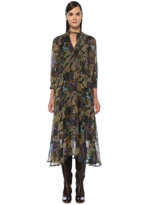 V Yaka Fularlı Çiçek Desenli Midi Şifon Elbise