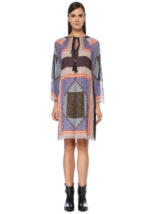 Yakası Bağlı Patchwork Desenli Pilili Midi Elbise