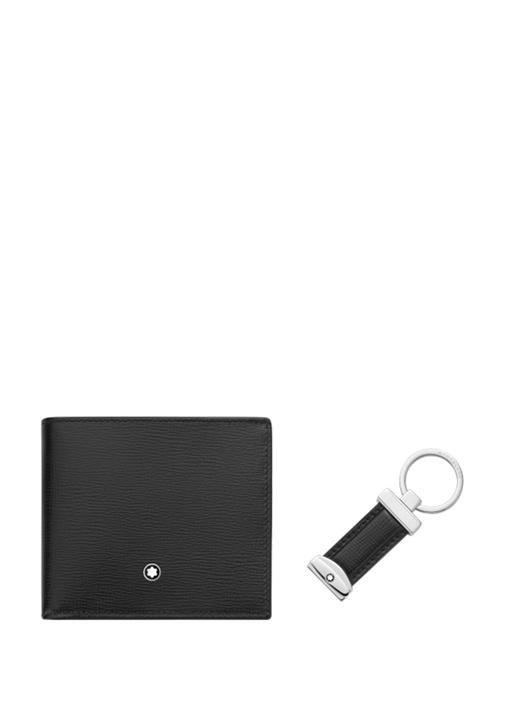 Siyah Logolu Anahtarlı Cüzdanlı Deri Hediye Seti