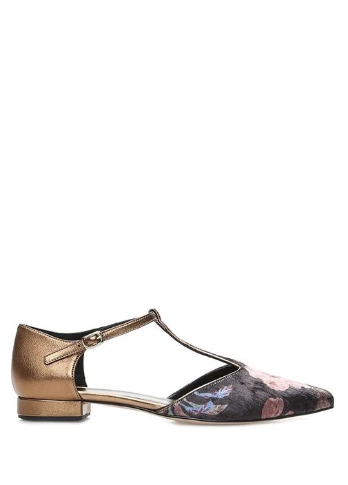 Colorblocked Çiçek Desenli Kadın Deri Sandalet