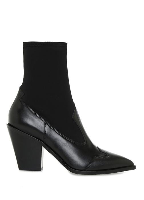 Siyah Çorap Formlu Kadın Deri Bot