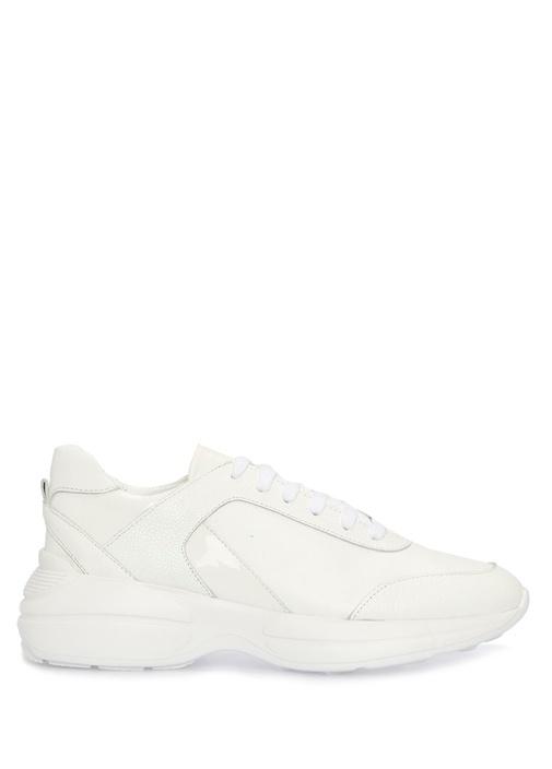 Beyaz Garnili Kadın Deri Sneaker