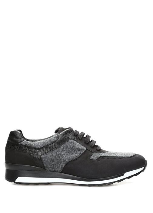 Gri Siyah Garnili Erkek Deri Sneaker
