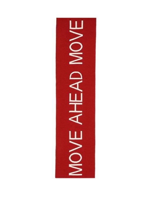Kırmızı Slogan Jakarlı Koordinatlı Erkek Yün Atkı