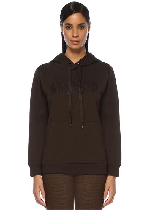 Kahverengi Kapüşonlu Yazı Nakışlı Sweatshirt