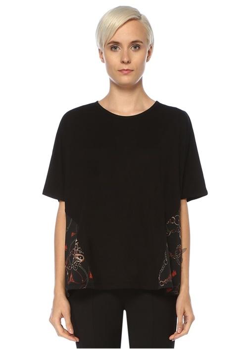 Siyah Yanı Zincir Desen Garnili T-shirt