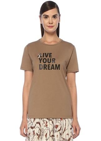 Live Your Dream Kamel Simli Baskılı T-shirt