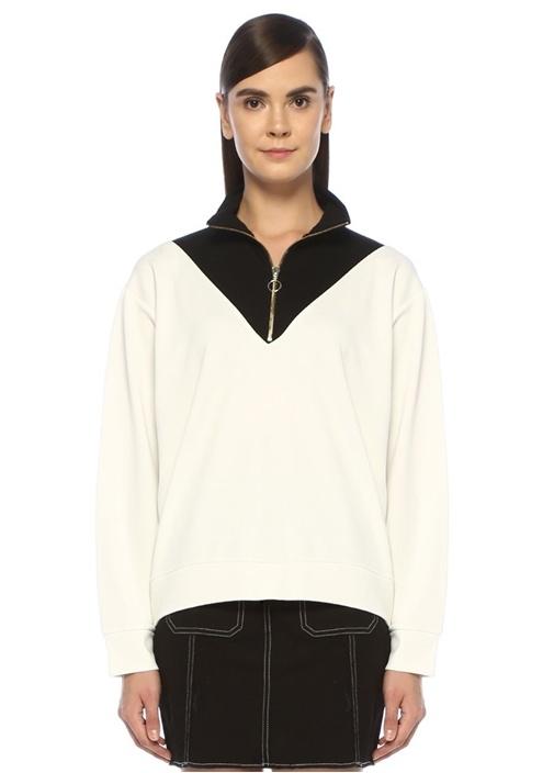Siyah Beyaz Dik Yaka Fermuarlı Sweatshirt