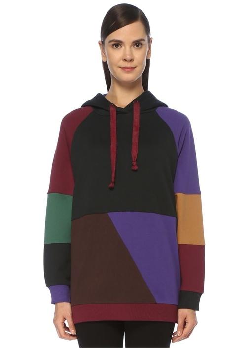 Oversize Colorblock Kapüşonlu Sweatshirt