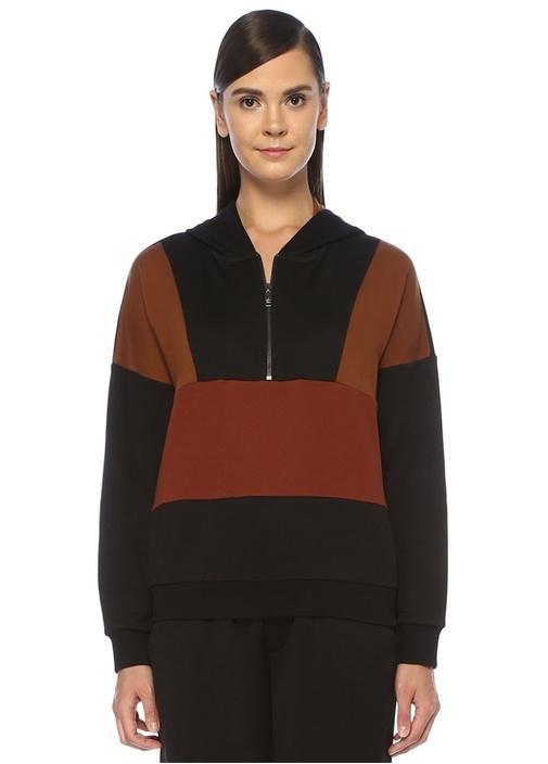 Kapüşonlu Fermuarlı Colorblock Sweatshirt