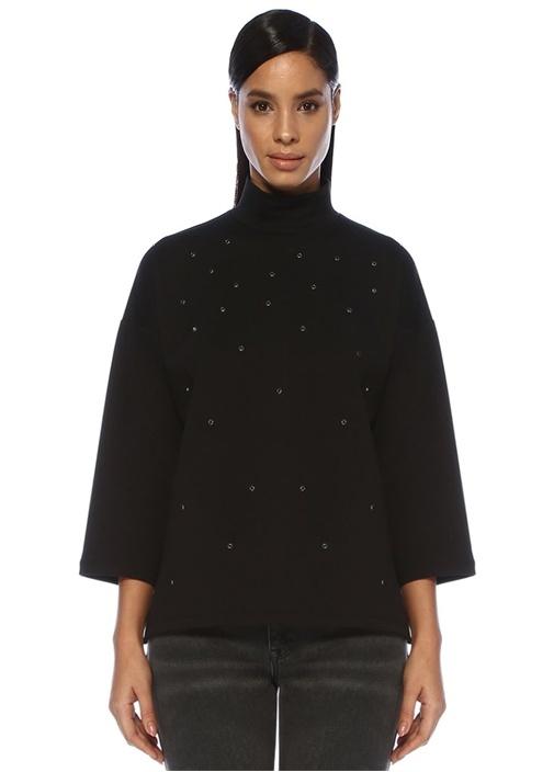 Siyah Dik Yaka Trok Detaylı Scuba Sweatshirt