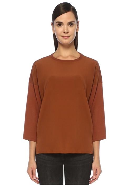 Kahverengi Önü İpek Garnili Düşük Kol T-shirt