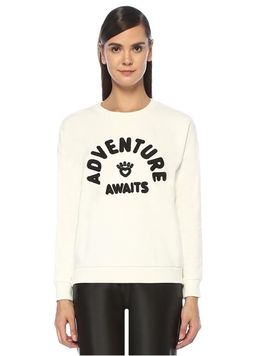 Adventure Awaits Beyaz Nakışlı Sweatshirt