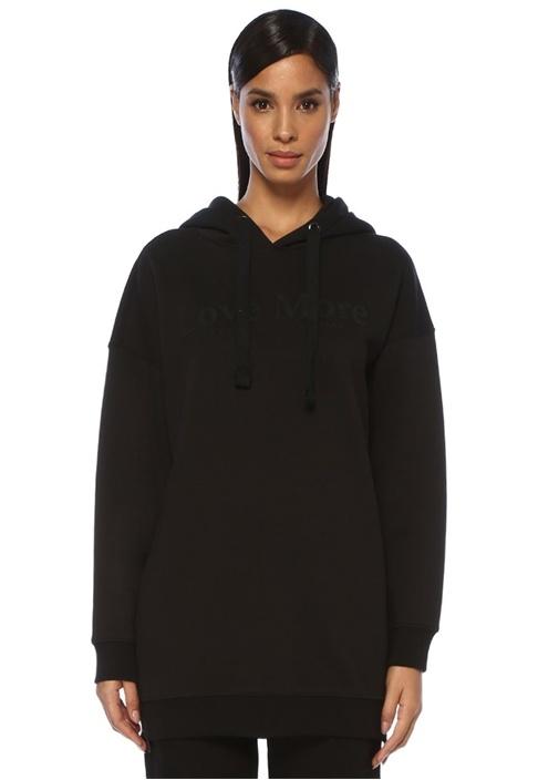 Love More Oversize Siyah Kapüşonlu Sweatshirt