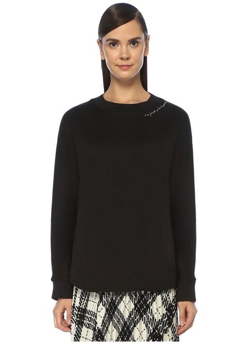 Siyah Yakası Nakışlı Yarasa Kol Sweatshirt