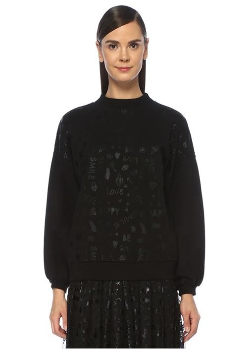 Siyah Yazı Baskılı Sweatshirt