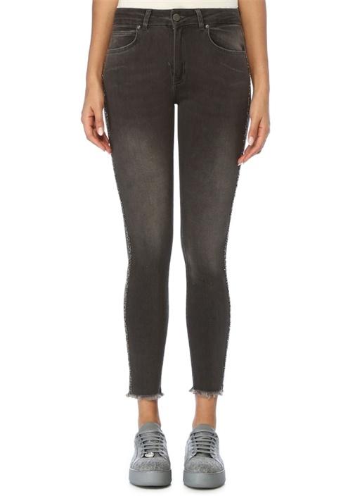 Gri Yanı Taş Bantlı Slim Fit Jean Pantolon