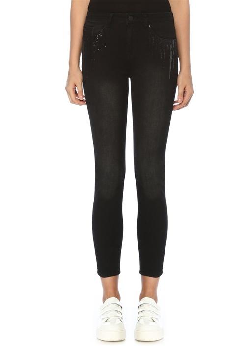 Slim Fit Siyah İşleme Detaylı Jean Pantolon