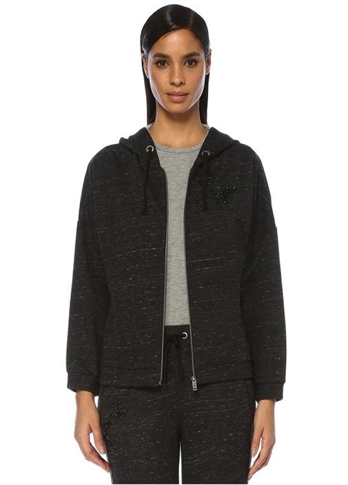 Antrasit Kapüşonlu İşlemeli Fermuarlı Sweatshirt