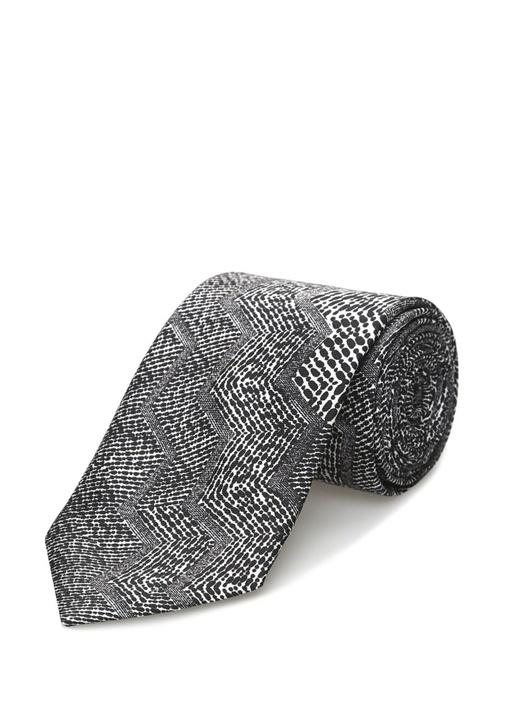 Zikzak Desenli İpek Kravat