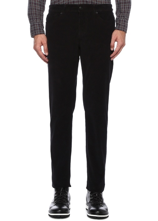 Slim Fit Siyah Çizgi Dokulu Kadife Spor Pantolon