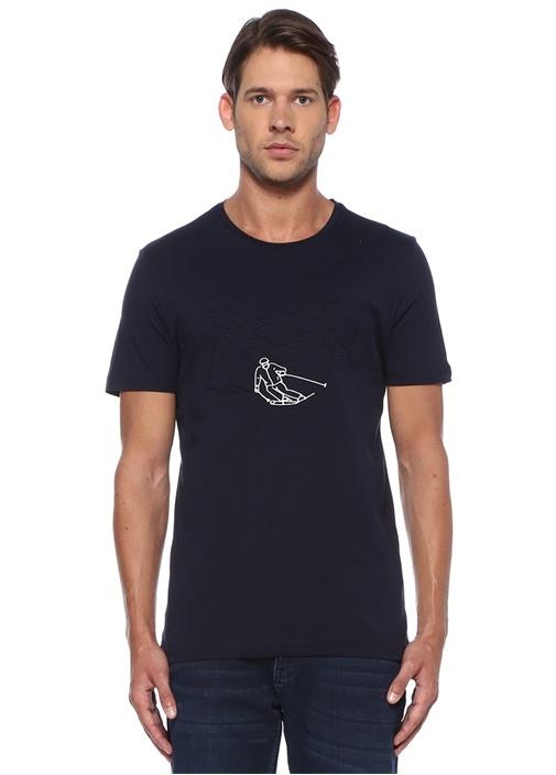 Lacivert Kabartmalı Kayakçı Baskılı T-shirt