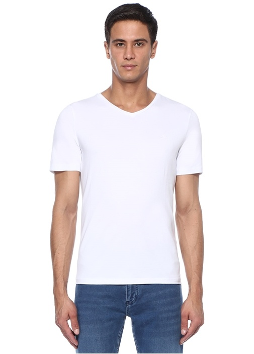 Beyaz Logo Nakışlı T-shirt