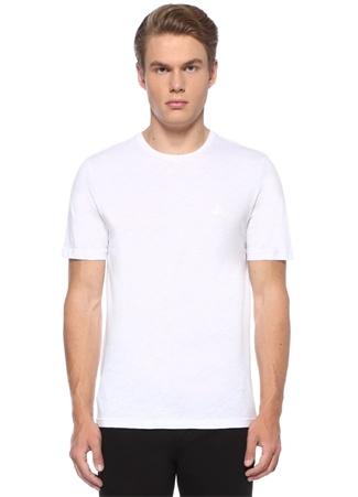 Beyaz Logolu Bisiklet Yaka Basic T-shirt