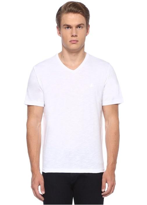 Beyaz V Yaka Kabartmalı Kuş Logolu Basic T-shirt