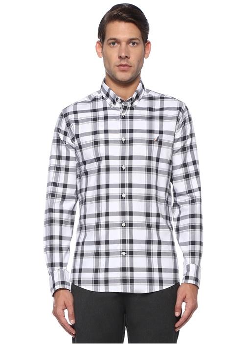 Slim Fit Beyaz Düğmeli Yaka Ekoseli Oxford Gömlek