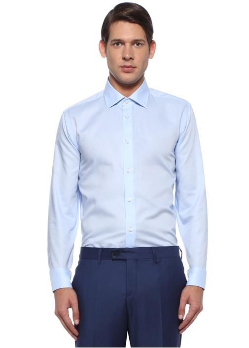 Slim Fit Mavi Non-iron Özellikli Oxford Gömlek
